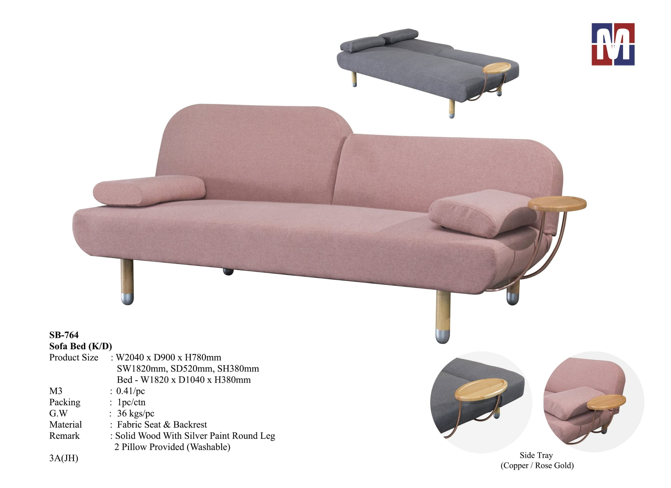 cindy sofa bed with cup holder 2 colors