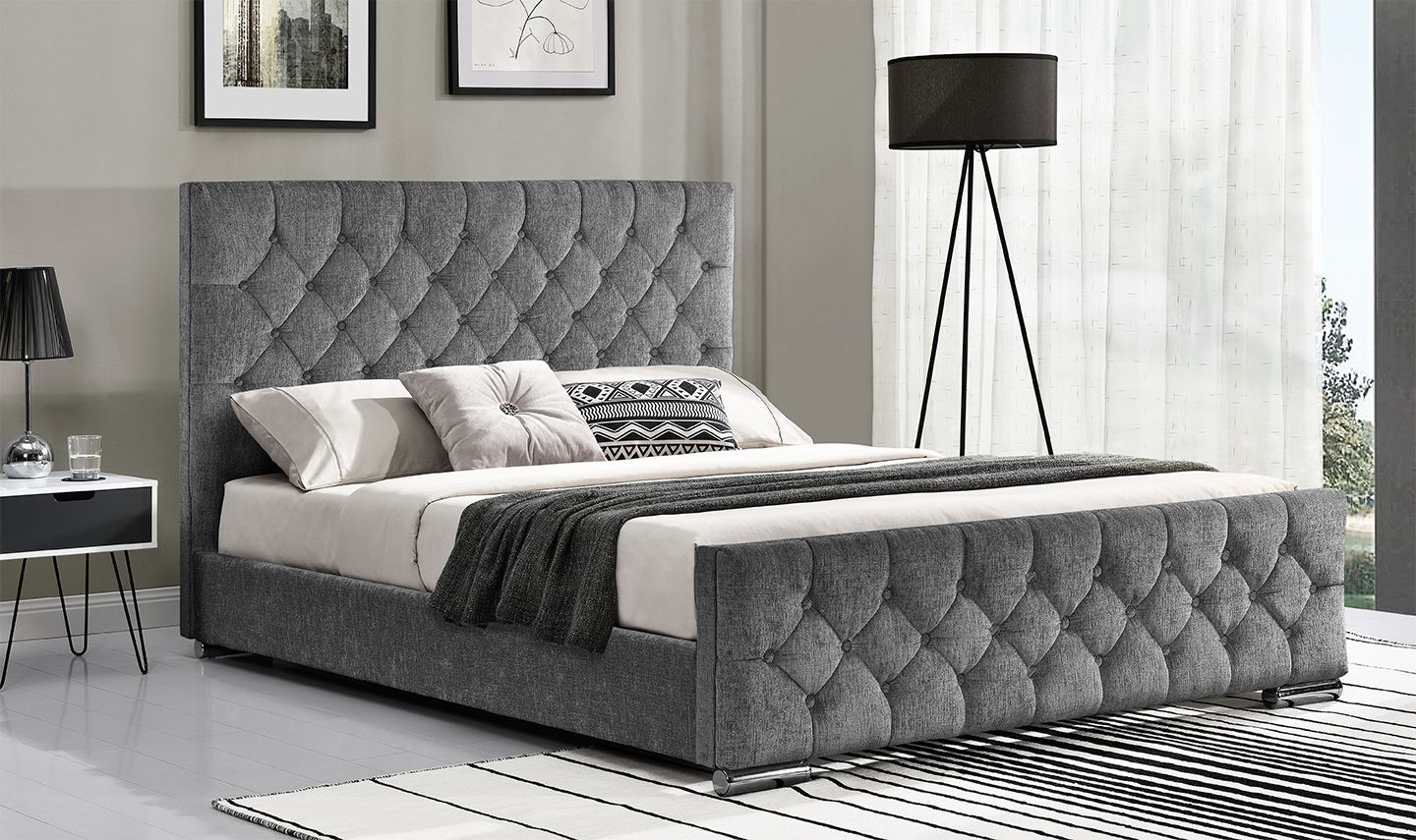 Cava Silver Fabric Super King Size Bed 18vd211
