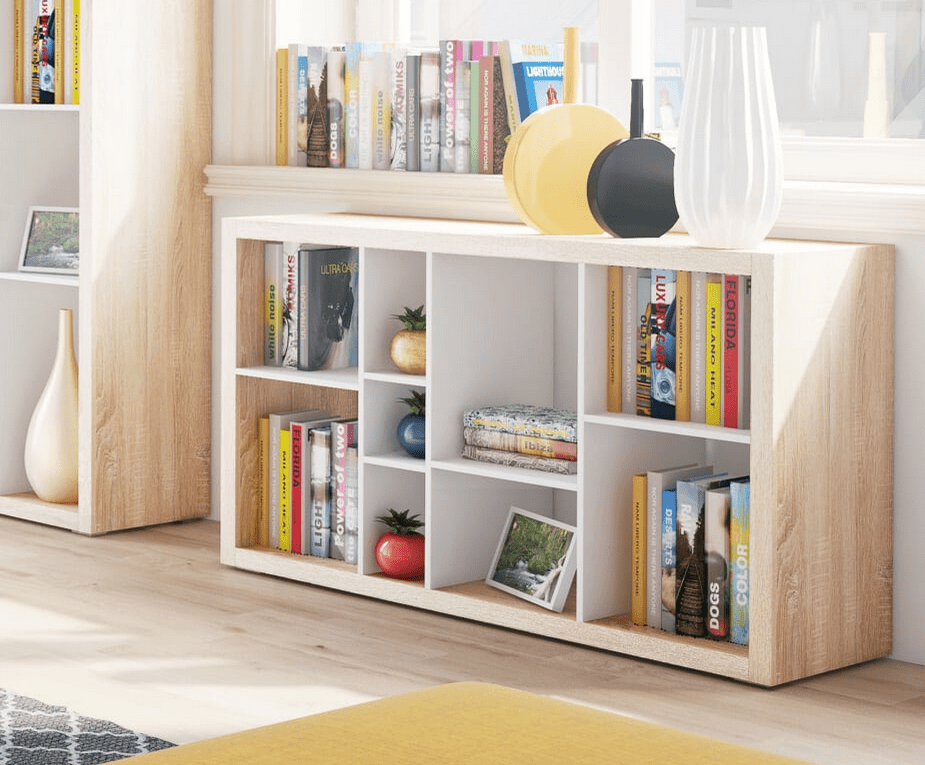 Low Wide White Bookcase