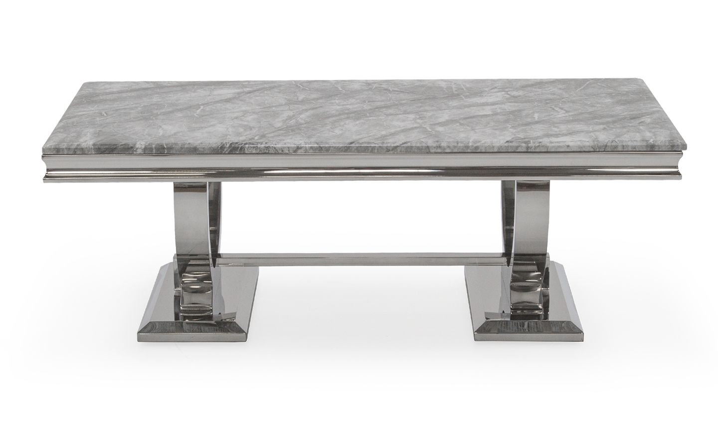 vasto grey marble and steel coffee table 18vd87