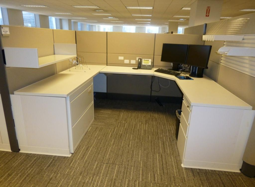 Used Office Cubicles Herman Miller U Shaped Soft White