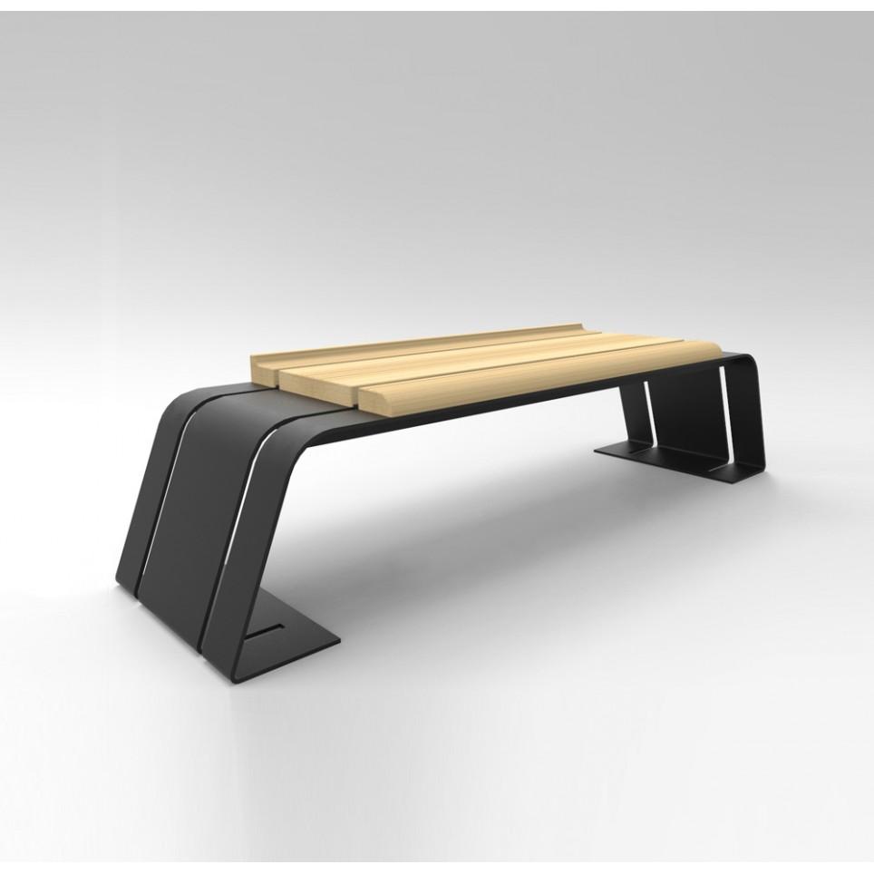 ash bench galvanized iron varnished wood