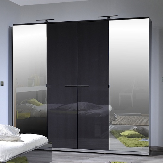 Sinatra Grey High Gloss Finish 4 Door Wardrobe With 2