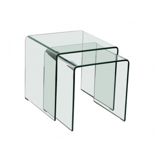 Azuria Clear Glass Set Of 2 Nesting Tables 22854 Furniture