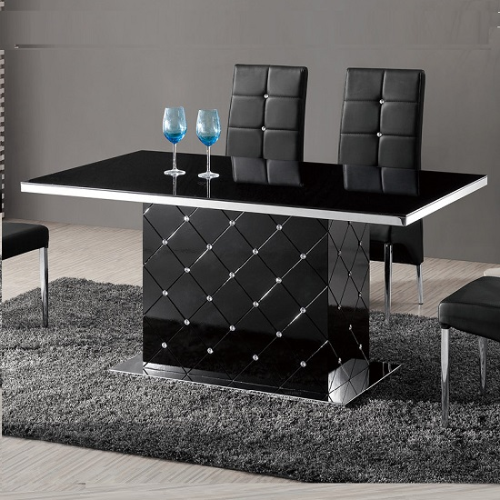 Levono Glass High Gloss Dining Table In Black With Rhineston