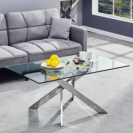 daytona glass coffee table rectangular in clear with chrome legs