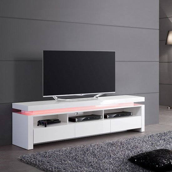 Tivoli LCD TV Stand In White Gloss With 3 Drawers And LED