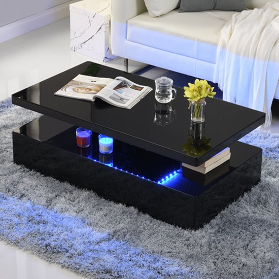 quinton modern coffee table in black high gloss with led