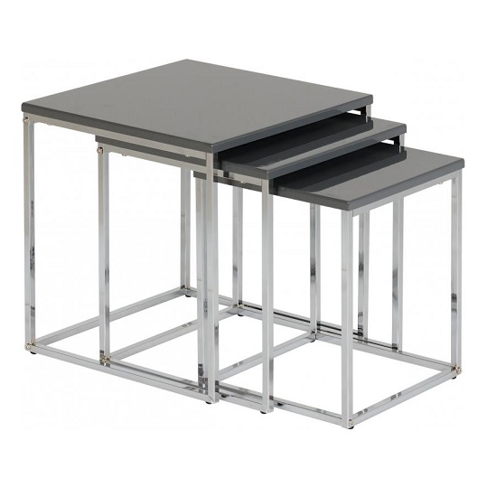 Andi Nest Of Tables In Grey Gloss With Chrome Legs Furniture In Fashion