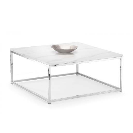 angeles gloss white marble effect coffee table and steel frame