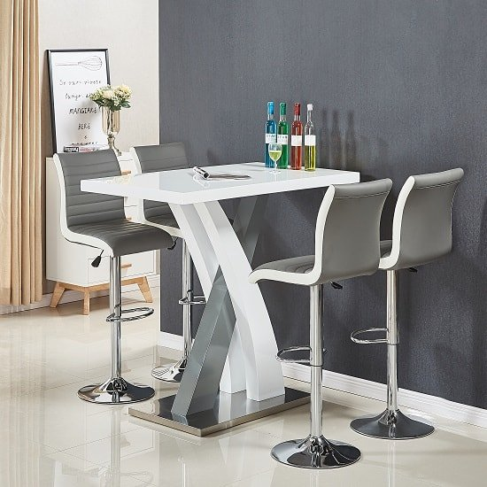 Axara Bar Table In White And Grey Gloss With 4 Ritz Grey