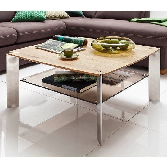 camilla wooden coffee table square in knotty oak with metal legs