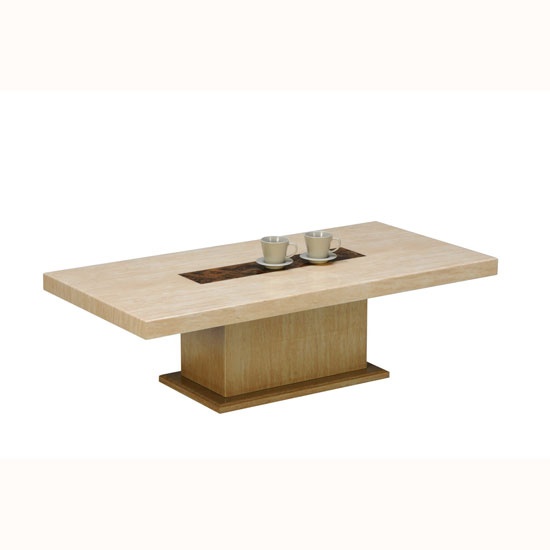 celine coffee table in marble top with wooden base