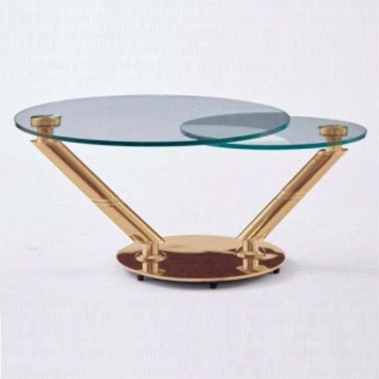 corazon rotating glass coffee table in clear and rosegold