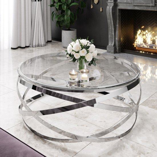 enrico clear glass coffee table with silver stainless steel legs