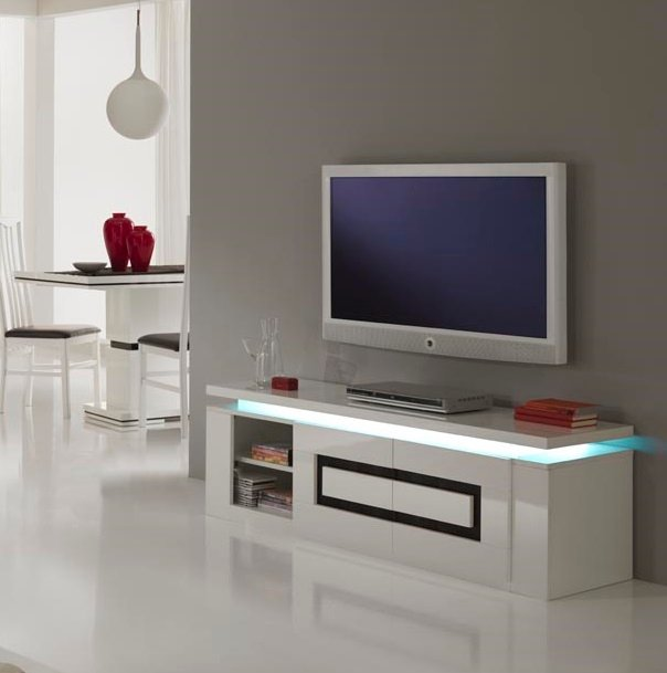 Garde Tv Stand In White Gloss And Black With Lights 20790