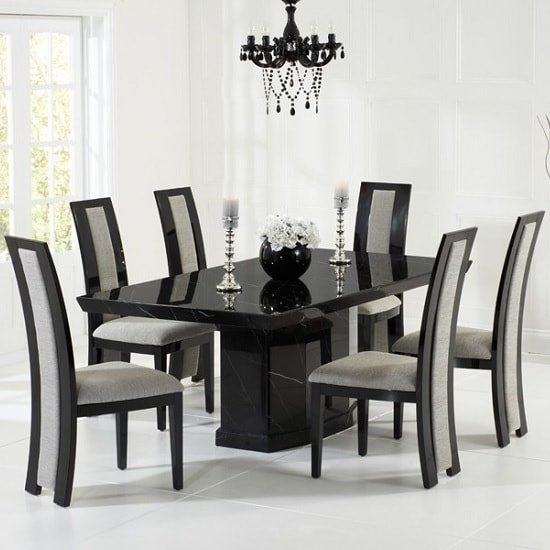 Hamlet Marble Dining Table In Black With 8 Allie Grey