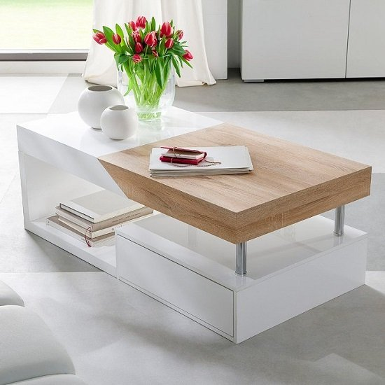 Hope Storage Coffee Table In Sawn Oak With White Drawers