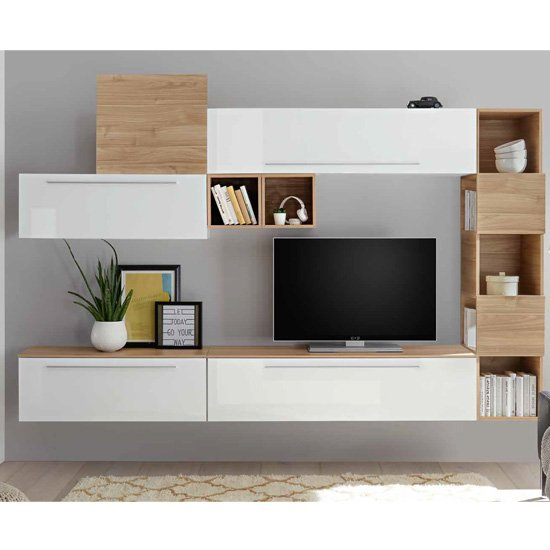 Infra White Gloss Wall Tv Unit And Shelves In Stelvio Walnut Furniture In Fashion
