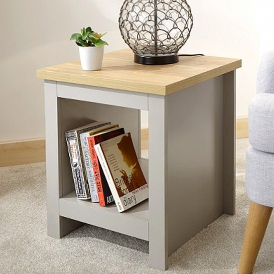 lancaster wooden side table with shelf in grey