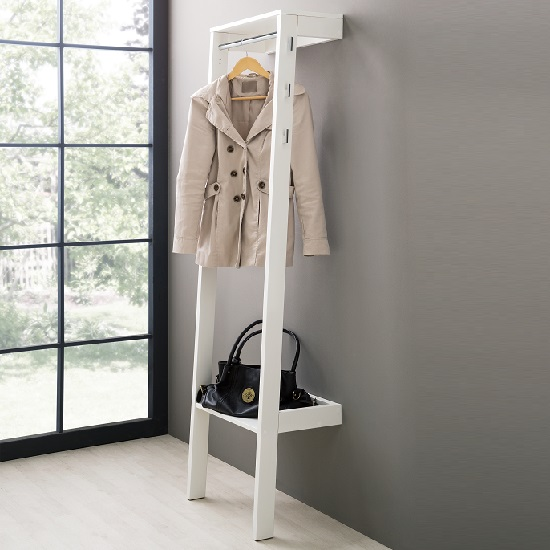 Louis Wall Mounted Coat Stand In White With 6 Hooks 28094