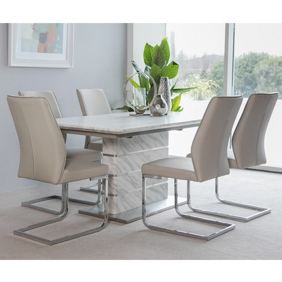 Luisa Extendable Dining Table In Marble Effect 6 Presto Chairs 1 297 95 Go Furniture Co Uk