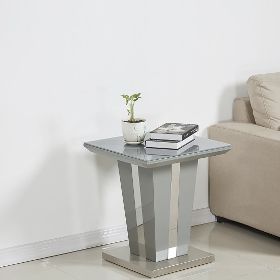 Memphis Lamp Table Square In Grey High Gloss With Glass