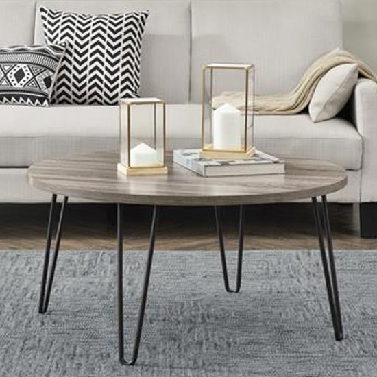 owen wooden round coffee table in distressed grey oak
