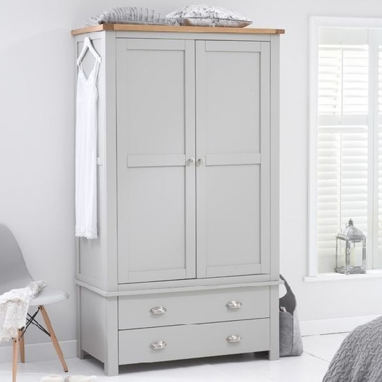 Platina Wardrobe In Grey And Oak With 2 Doors 2 Drawers