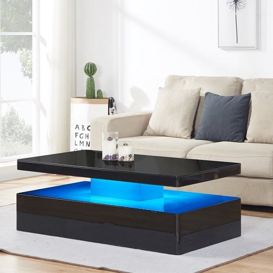 Quinton Modern Coffee Table In Black High Gloss With Led Furniture In Fashion