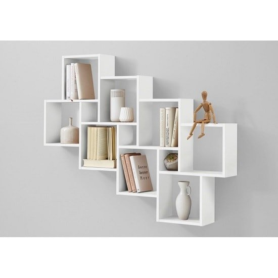 Rutland Wooden Large Wall Mounted Shelving Unit In White Furniture In Fashion