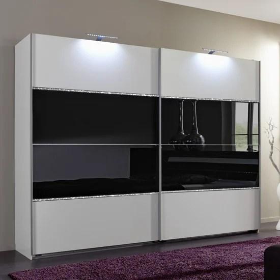 Sicily Sliding Wardrobe Alpine White And Black Glass 754860