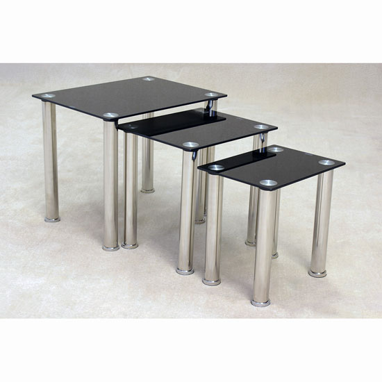 pearl nesting tables in black glass with chrome base