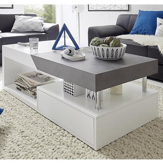 tuna storage coffee table in matt white and concrete effect