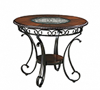 Rustic Round DRM Counter Table with glass pattern