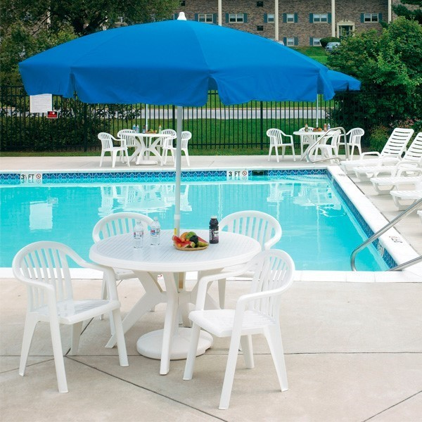 ibiza 46 round plastic resin commercial pool dining table with umbrella hole furniture leisure