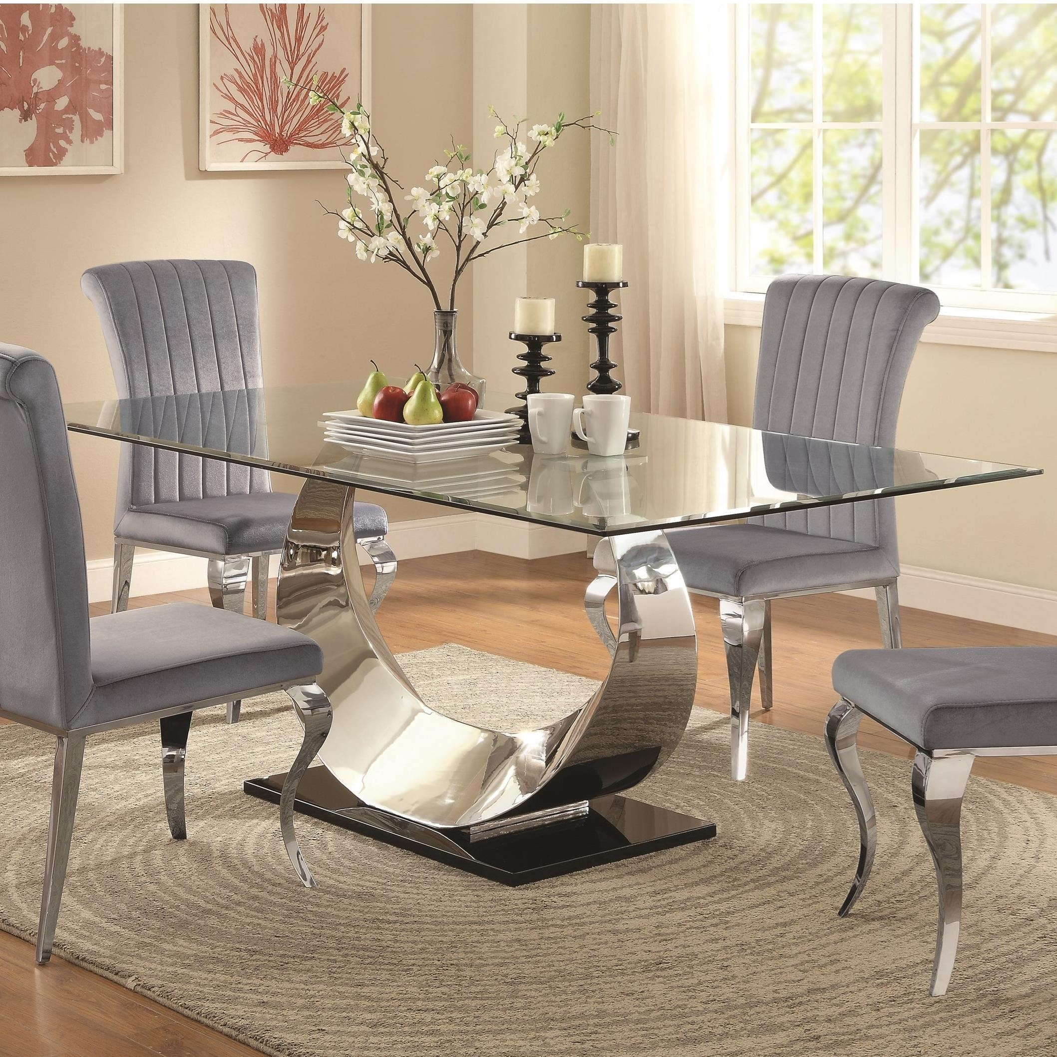 coaster manessier chrome dining table
