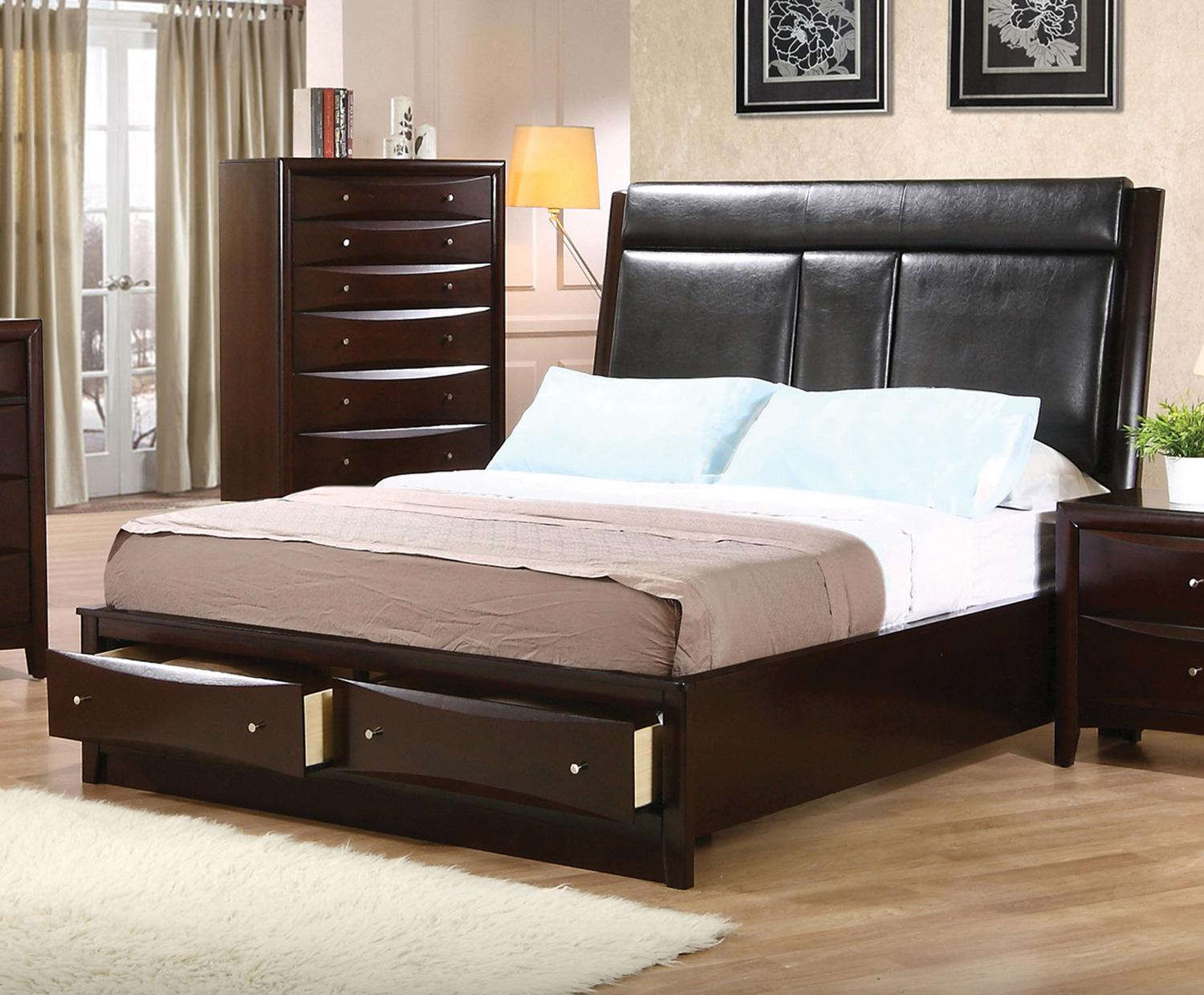 Coaster Phoenix Queen Flip Down Console Platform Bed