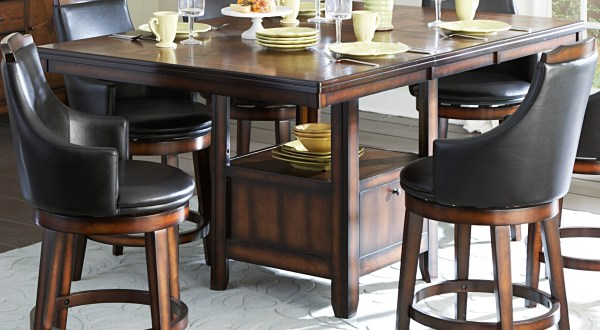 counter height storage dining table Homelegance Bayshore Storage Rectangular Counter Height