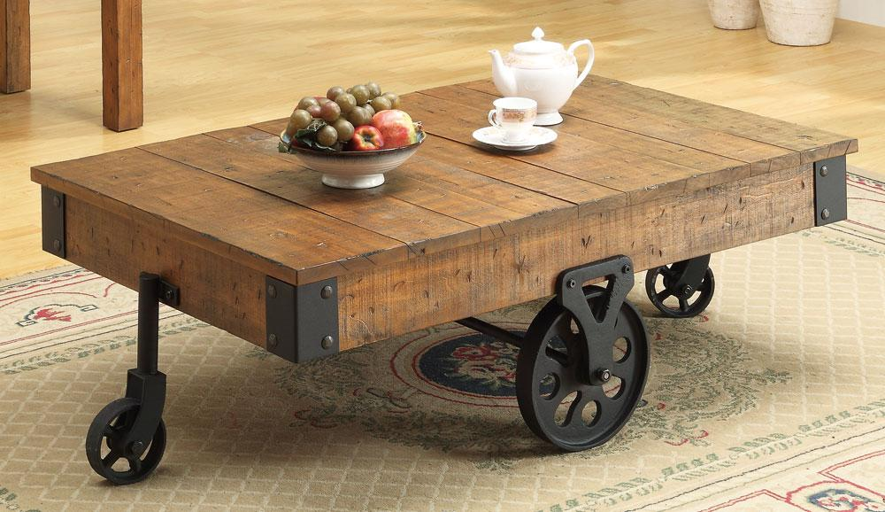 coaster country wagon brown coffee table