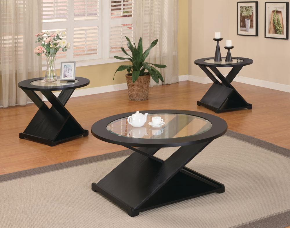 coaster san martin black x style 3pc coffee table set
