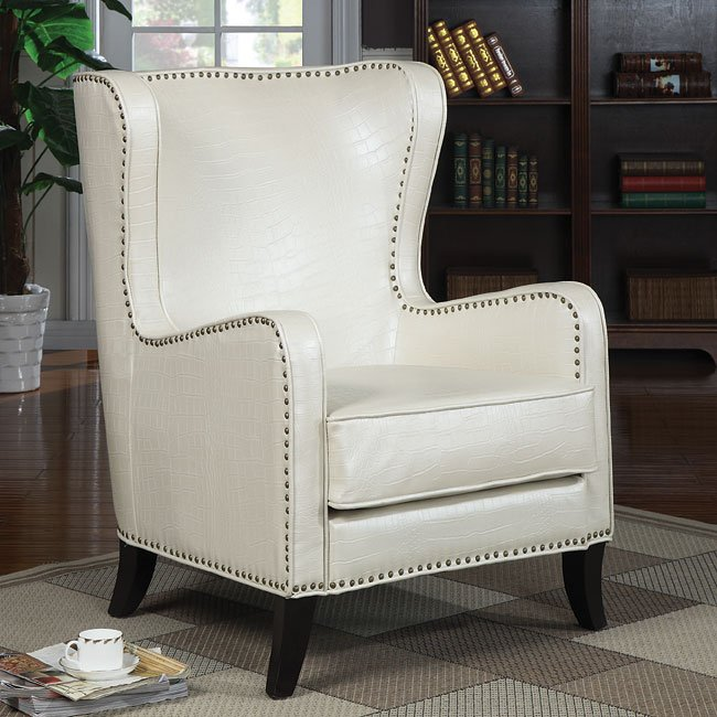 Pearlized White Accent Chair