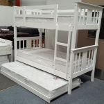 Furniture Place Holly Bunk Bed With Trundle And Mattresses Single Solid Hardwood White