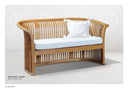 Indonesia teak wood furniture, Kipas Sofa 2 Seater Wooden Furniture Wholesale