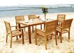 Praha Stacking Chair And Monica Rect Dining Table Outdoor Furniture