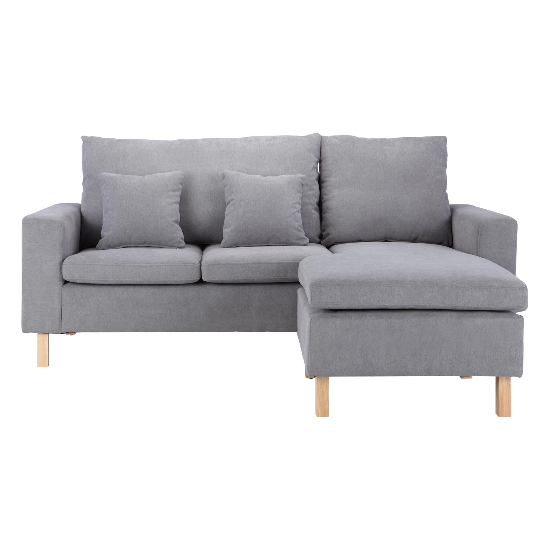 rogan fabric l shape sofa gray