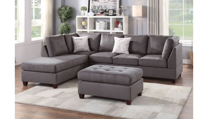 casablanca grey microfiber sectional sofa set