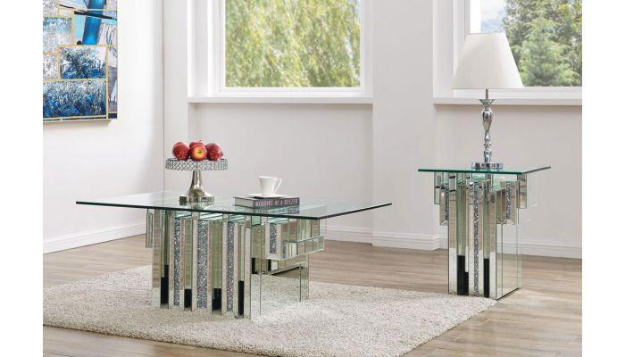 tripoli glass top mirrored coffee table
