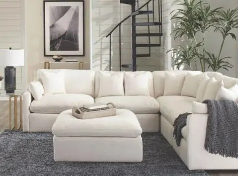 hobson modular sectional sofa set in off white fabric