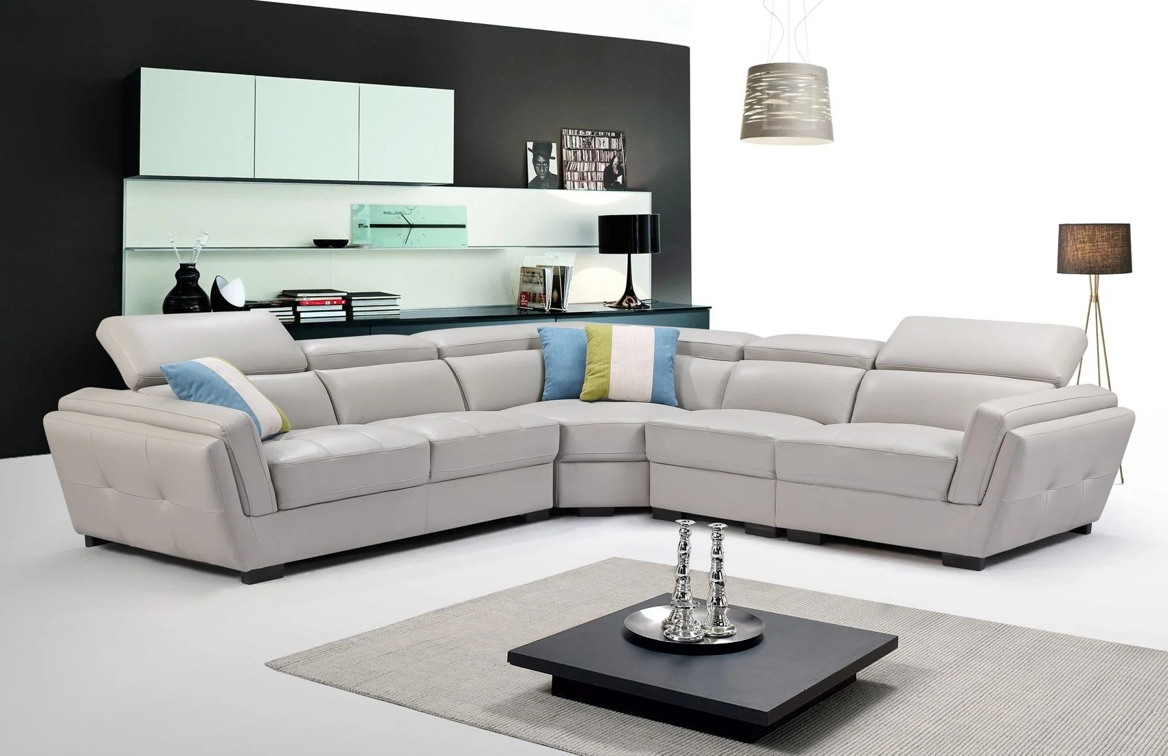 gray leather 2566 sectional sofa set